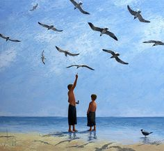 "Dima Dmitriev ""Boys and Seagulls"". Oil on black canvas, palette knife ,165 x 150 cm,  2012 (original painting for sale)"