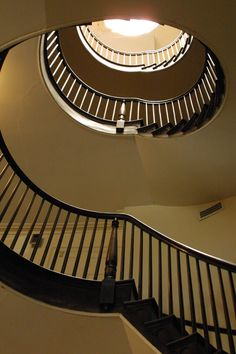 Linden Place's four-story spiral staircase graces the center hallway.