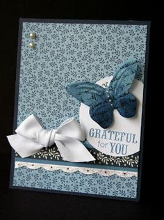 "Butterfly card featuring the new ""Pemberley"" papers by CTMH"