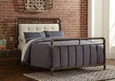 Copper Metal Bed with Upholstered Headboard | Brian's Furniture