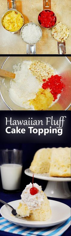 Hawaiian Fluff Cake Topping. This is a vintage Betty Crocker recipe from 1948. Go retro with whipped cream, cherries, almonds, pineapple, and coconut.