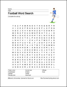 Football Wordsearch, Vocabulary, Crossword, and More: Football Wordsearch