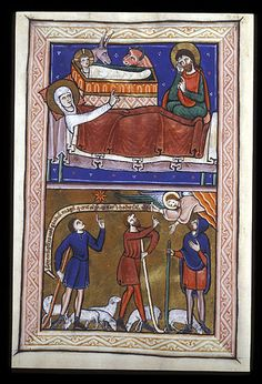 Miniature of the Nativity and the Annunciation to the Shepherds. English, 13th century.  British Library.