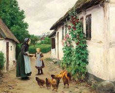 """Visiting grandmother in Jyllinge"" by Hans Andersen Brendekilde (1857 – 1942, Danish)"