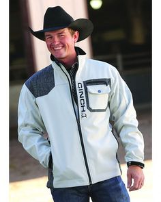Cinch Grey Bonded Contrast Logo Jacket