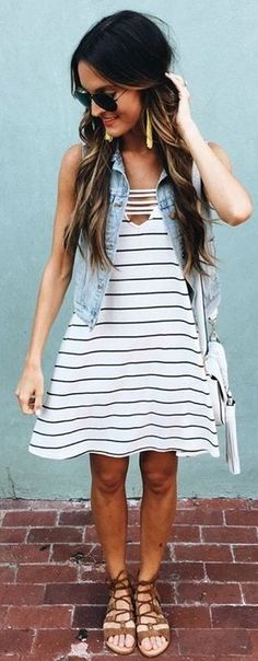 #summer #american #style | Denim Vest + Striped A Dress
