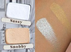 Sassy and Snobby swatches from The Balm - Nude'tude palette