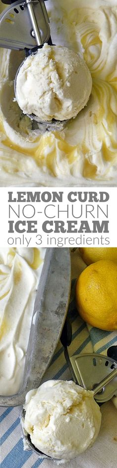 Lemon Curd No Churn Ice Cream is a rich, tangy, sweet, creamy, lemony dessert perfect for summer! No ice cream machine needed!