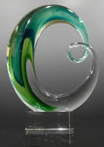 Green hand blown glass art sculpture.