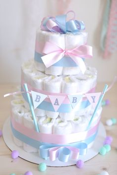 Gender Reveal Diaper Cake / Shower Centerpiece / Baby girl or