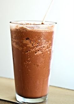 Low carb, high protein peanut butter chocolate smoothie.