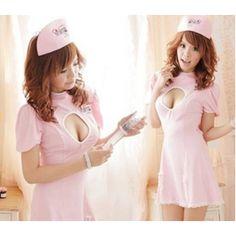 コスプレ ナース服*背中蝶リボンピンクの看護婦コスプレ 5129 - 拡大画像 Sexy Nurse Costume