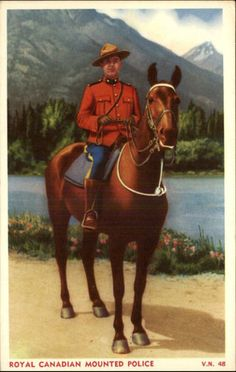 Royal Canadian Mounted Police RCMP Old Postcard