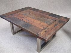 nice neat recycled wood and stainless steel coffee table. Reclaimed timber coffee table stainless steel legs