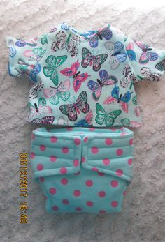 READY to SHIP Shirt and diaper , Colorful Butterflies, Doll outfit will fit Bitty Baby or any 15 inch doll by JMagaClothing on Etsy