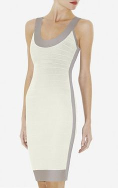 $168.00Herve Leger Gwyneth Colorblocked Bandage Dress White A simple silhouette and impeccable detailing define this subtly color-blocked dress. Scoop neck. Sleeveless. Colorblocked construction. Scoop back. Center back zipper with hook-and-eye closure. Hits above the knee. Back zip closure Rayon, Nylon, Spandex. Dry clean Imported.