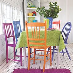 Bright, colorful, mismatched dinning room chairs.