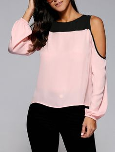 Cold Shoulder Contrast Trim Chiffon Blouse in Shallow Pink | Sammydress.com