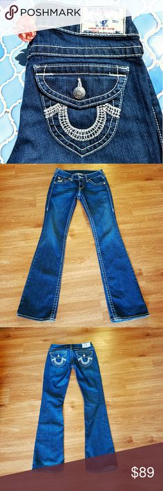 True Religion boot-cut jeans Fabulous True Religion jeans with great horseshoe accents on back flap pockets & one front pocket!  Only wore a handful of times -- in great condition!  Very minor wear.  33 inch inseam.  Open to negotiations. True Religion Jeans Boot Cut