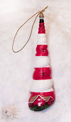 Painted Seashell Ornaments | Assateague Lighthouse Hand Painted Seashell Ornament