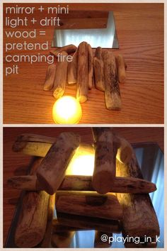 Loose parts to create a pretend camping fire pit. Loose parts to create a pretend camping fire pit. Camping Fire Pit, Indoor Camping, Camp Fire, Fire Pit Ring, Diy Fire Pit, Camping Theme, Go Camping, Camping Indoors, Faux Foyer