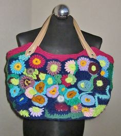Flower garden freeform crochet medium bag by handmadestreet101