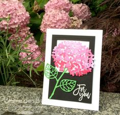 Hydrangea flower card using Stampin Up Thoughful branches bundle. Only available August 2016