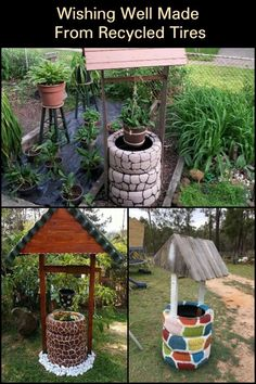 Organic Gardening Supplies Needed For Newbies Decorate Your Garden With This Diy Wishing Well Planter Made From Recycled Tires Tire Garden, Garden Yard Ideas, Diy Garden Projects, Diy Garden Decor, Garden Crafts, Reuse Old Tires, Recycled Tires, Wishing Well Garden, Motif Simple