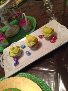 Chick peeps on a cupcake as toppers for Easter