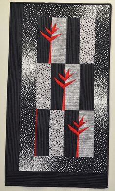 Heliconia, 2009, by Janelle Rebick. A pattern from Black and White Quilts by Kay M. Capps Cross