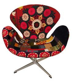 Distinguished Color Palette Adorning the Xalcharo Chair Collection Vintage Chairs, Vintage Fabrics, Colorful Furniture, Modern Furniture, Swan Chair, Dwelling On The Past, Take A Seat, Design Museum, Cool Chairs