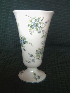 "Coalport Trumpet Vase Fine English Bone China Blue Floral 6 1 2"" Mint Cond   eBay"