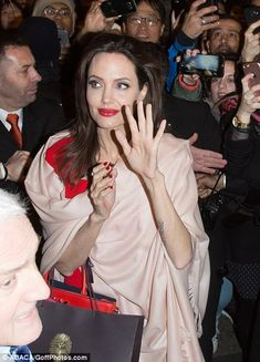 Mane attraction: Angelina's brunette tresses sported a glamorous, glossy blow-dry and effortlessly framed her face