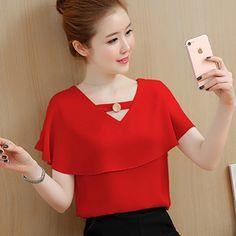 Tienda Online Blusas y Tops de mujer Blusa de gasa de verano ropa de mujer Tops de manga corta Camisa de volantes ropa Camisa femenina | Aliexpress móvil