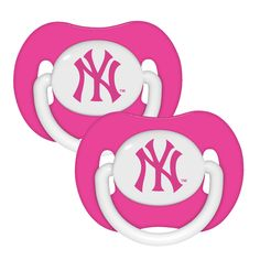 2 Pack Pink Pacifiers - New York Yankees