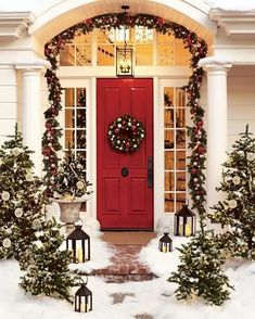 Decorating Accessories. Beautiful Christmas Decorating Ideas For Your Home. Alluring Christmas Outdoor Design Inspiration With Red And White Christmas Ball Wreath And Red Stained Wooden Door Plus Green Christmas Garland With Red And White Christmas Ball Together With White Ceramic Vase And Also Black Metal Candle Lantern. Christmas Decorating Ideas