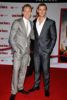 Tom Hiddleston and Chris Hemsworth at the Iron Man 3 World Premiere 4/24/13