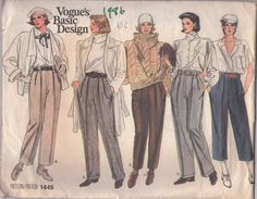 Vogue 1445 Vintage 80's Sewing Pattern Basic Design FAB Molly Ringwald Brat Pack High Built Up Waist Cropped Pants, Cuffed Trousers Size 6