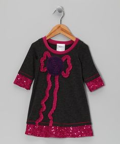 Take a look at this Charcoal & Pink Sequin Rose Dress - Toddler & Girls on zulily today!