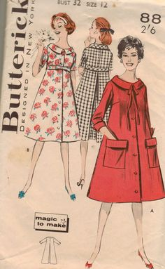 Vintage 50s Butterick 8810 Sewing Pattern Misses Size 12 Dusters Housecoats. $8.00, via Etsy.