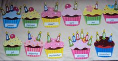Mijn verjaardagskalender (Voor de cupcakes en kaarsjes zie bord 'kalenders en symbolen') - Delphine Wieme Preschool Birthday, Classroom Birthday, Birthday Wall, Birthday Board, Preschool Classroom, Kindergarten Activities, Classroom Walls, Classroom Decor, Birthday Calender