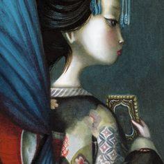 En Madama Butterfly Benjamin Lacombe reinterpreta el famoso drama romántico, presentando a un Pinkerton atormentado por los remordimientos. Este álbum ilustrado, encuadernado en forma de biombo, esconde en el reverso de sus páginas un delicado fresco, ejecutado a lápiz y óleo, de 10 metros de largo. Edelvives presenta Madama butterfly entre sus novedades de otoño 2014. Geisha, Madame Butterfly, Graffiti, Mona Lisa, Oriental, Costumes, Visual Arts, Illustration, Artwork