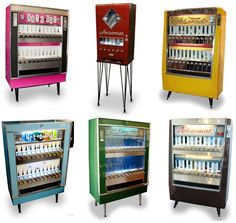 Vintage cigarette machines re-purposed to dispense art (Messy Nessy Chic) Cigarette Vending Machine, Coffee Machine Design, Art O Mat, Messy Nessy Chic, 1920s Art Deco, Dream Home Design, Blue Art, Selling Art, Vintage Advertisements
