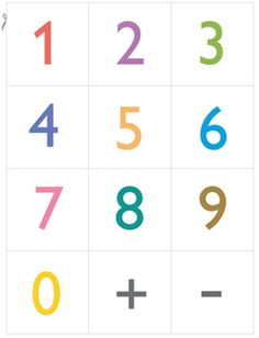 free printable numbers (to cut out) for teaching numbers and Math- includes a plus and minus symbol