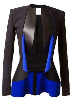 Dion Lee Jackets :: Dion Lee black and blue bi material jacket | Montaigne Market