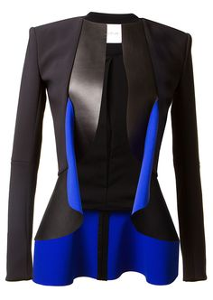 Dion Lee Jackets :: Dion Lee black and blue bi material jacket | Montaigne Market