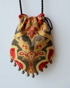 Items similar to Gypsy Bag with Brass Beads Gold and Red Chenille Hippie Bag Boho Bead Bag Cross Body Bag on Etsy Hippie Bags, Boho Bags, My Bags, Purses And Bags, Gypsy Bag, Potli Bags, Bag Patterns To Sew, Beaded Bags, Fabric Bags