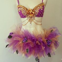 Love the top. Make a panti with the tool startin at hip bones increasing around rear angling down infront of thigh backs, minus leaves, add gold trim around diamonds. - Purple Goddess Rave outfit W/Matching tutu by RevoltCouture