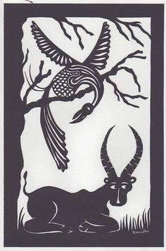 antelope and bird papercut tinga tinga by rehanna.chaudhri, via Flickr