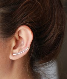 Curved Bar Ear Cuff / Long Curved Line Bar Eear by studiomirage